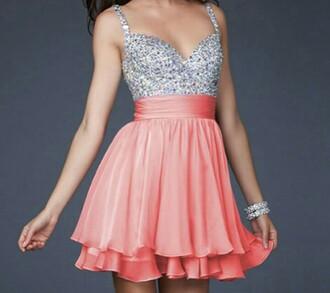 dress coral dress pink dress sparkle short dress graduation dress