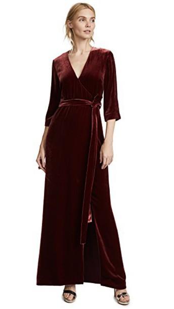 L'Agence dress wrap dress maxi velvet