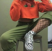 tank top,outfit,style,cropsweatshirt,crop tops,olive green,peach,vans,high waisted jeans,jeans,fishnet tights,black girls slayin