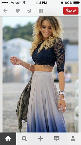 top lace shirt blue shirt blue skirt maxi skirt