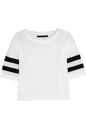 t-shirt karl lagerfeld jessica mesh-striped cotton-jersey t-shirt