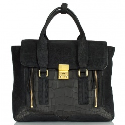 3.1 Phillip Lim Black Reptile Pashli Medium Satchel Bag