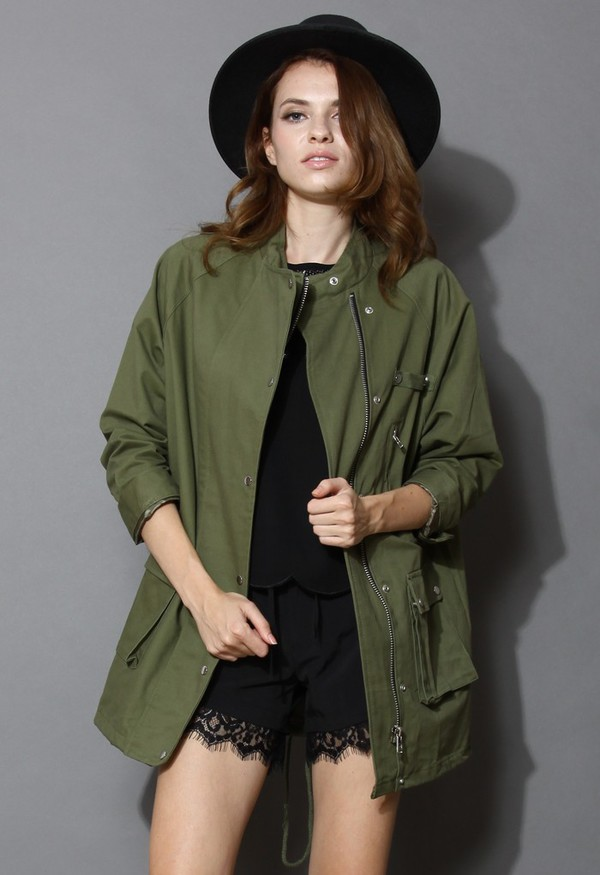 chicwish stand collar military coat green