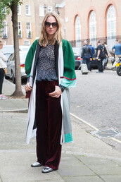 pants,wide-leg velvet pants,tumblr,wide-leg pants,red pants,burgundy,top,printed top,coat,green coat,shoes,metallic,metallic shoes,silver,silver shoes,sunglasses,streetstyle,fall outfits