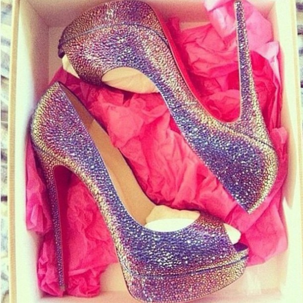 shoes heels high heels rhinestones glitter glamour red bottoms summer shoes peep toe pumps