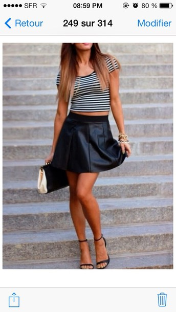 skirt black bag white and black top black shoes leather black skirt black&cream black & white top gold jewelry