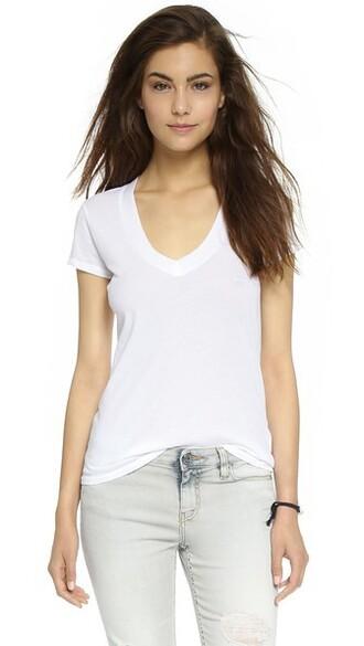 short v neck white top