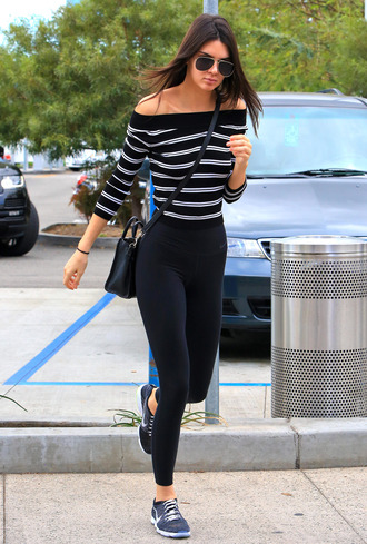 leggings top off the shoulder kendall jenner sneakers shoes