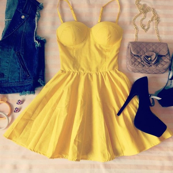 dress yellow dress denim jacket high heels purse pretty found on pinterest pinterest bag jacket