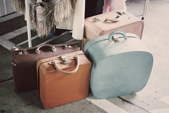 bag pink brow brown blue old suitcase vintage pastel
