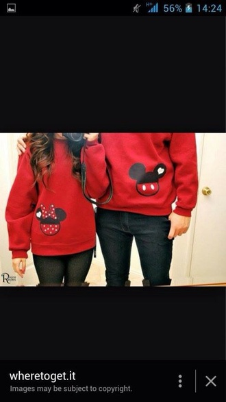 sweater red jumper mickey mouse minnie mouse