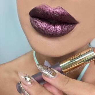 make-up metallic lipstick metallic lipstick lips dark lipstick purple purple lipstick nail polish gold nails