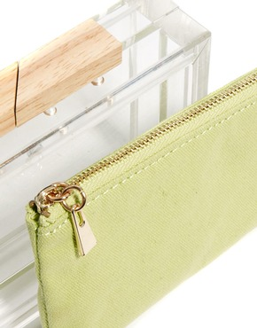 ASOS   ASOS Clear Clutch Bag With Internal Contrast Purse at ASOS
