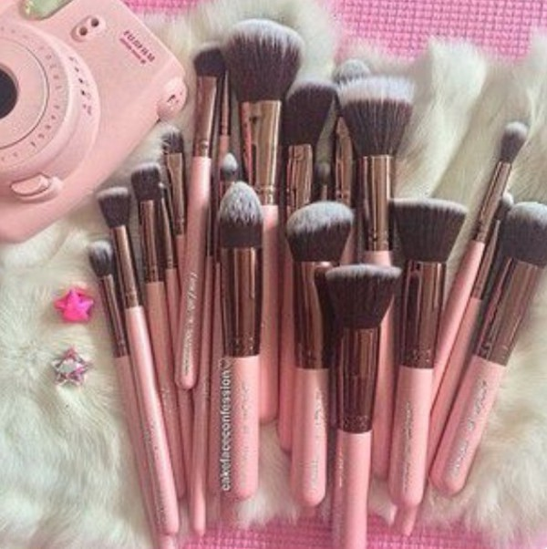 make-up pink makeup brushes face makeup rose