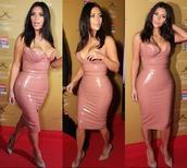 dress,nude,kim kardashian,faux leather,pvc,all nude everything,black,vue boutique,curvy,kim kardashia,leather,pink