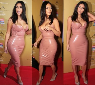 dress nude kim kardashian faux leather pvc all nude everything black vue boutique curvy kim kardashia leather pink