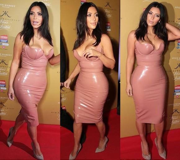 nude dress kim kardashian faux leather pvc Red Lime Sunday