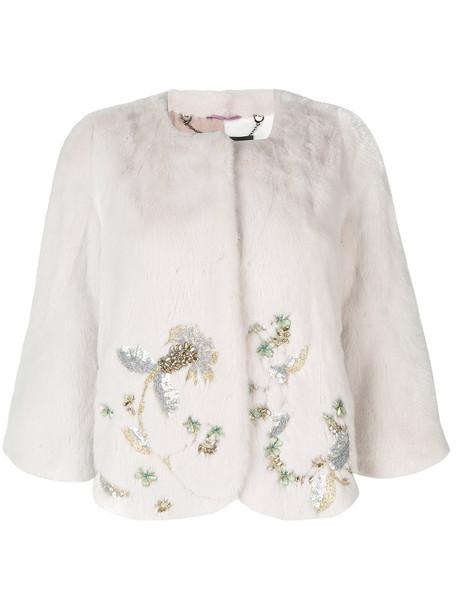 Cara Mila jacket fur women embellished white