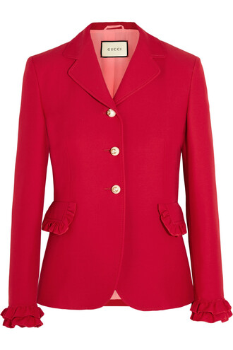 jacket silk wool red