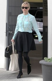 blouse,ankle boots,reese witherspoon,mint,black skirt,shoes