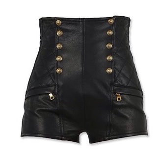 shorts buttons high waisted shorts leather shorts