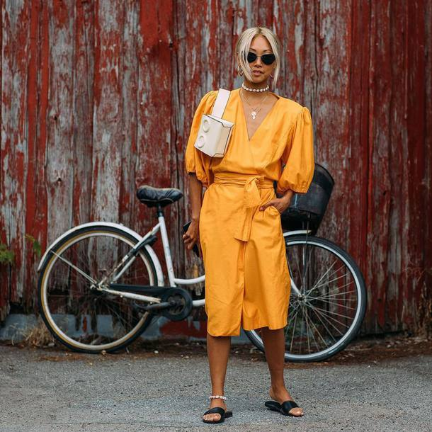 dress midi dress slide shoes orange dress bag sunglasses earrings