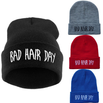 2014 Winter Bad Hair Day Beanie Knitted Cap Men Hat Beanie Knitted Winter Hats hiphop For Women Fashion Caps Hot Sale 4 Color-in Skullies & Beanies from Apparel & Accessories on Aliexpress.com