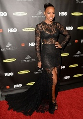 dress,gown,black,lace,sheer,kelly rowland