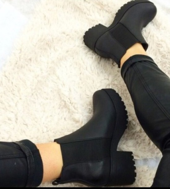 Shoes: black, sneakers, hipster, black ankle boots, ankle ...