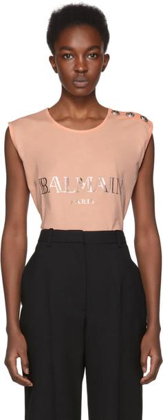 Balmain t-shirt shirt t-shirt sleeveless pink top
