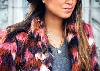 coat faux fur multicolor pink white faux fur coat