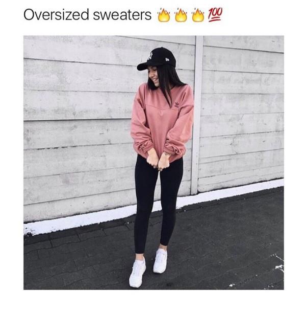 sweater, pink, adidas, adidas sweater, baby pink, baddies ...