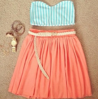 clothes skirt belt shirt coral top