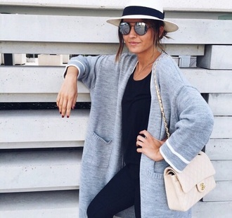 cardigan sunglasses hat grey gray white jeans pants leggings black bag satchel fashion style sandals birkenstocks girl nails top shirt desginer