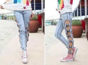Woman Jeans Side Bow Cutout Ripped Denim Sexy Jeans/trousers/Jeggings