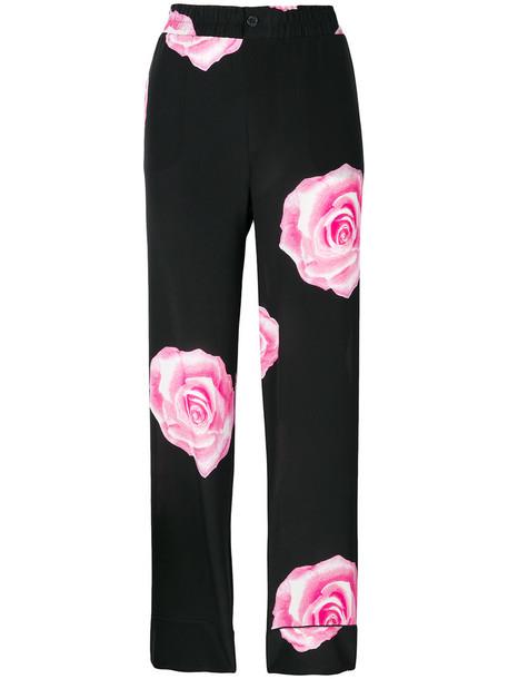 Ganni rose women print black silk pants