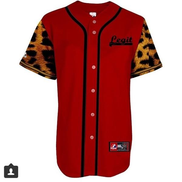 Red cheetah baseball jersey now thats legit online for Baseball jersey shirt dress