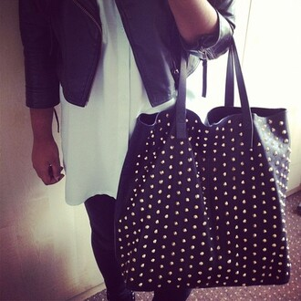 bag stud black oversized studded bag girl studs gold