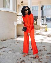 pants,wide-leg pants,high waisted pants,orange,sweater,knitted sweater,slide shoes,sunglasses,crossbody bag,mini bag