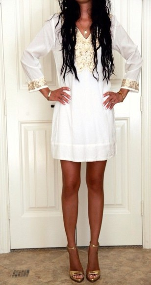 cute casual needtohave dress white and gold dress gold sequins short dress vneck long sleeves long sleeves white dress beige dress off white