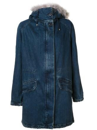 coat fur women blue
