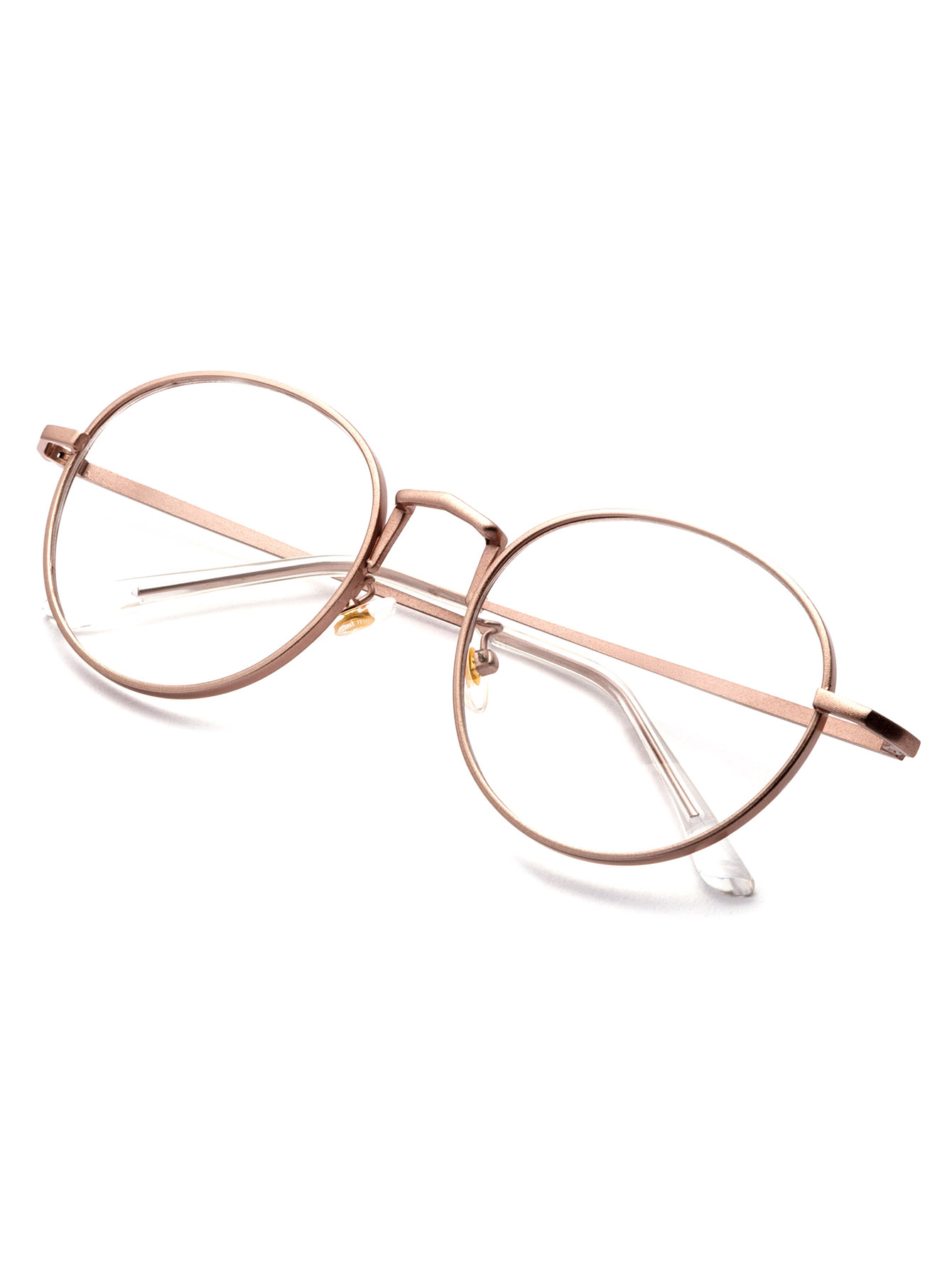 1632aa723a3 Rose Gold Delicate Frame Clear Lens Glasses -SheIn(Sheinside)