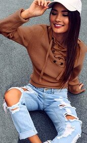 sweater,knitwear,knit,pullover,lace up top,lace up pullover,knitted sweater,jumper,long sleeves,deep v,knitted top,brown,khaki,jeans top,preppy,casual,tumblr,tumblr top,sexy jumper,streetwear,streetstyle,urban,fashion,lookbook,preppy pretty,girly,girly wishlist,cute,cute top,casual casual top,women casual,moraki,lace up