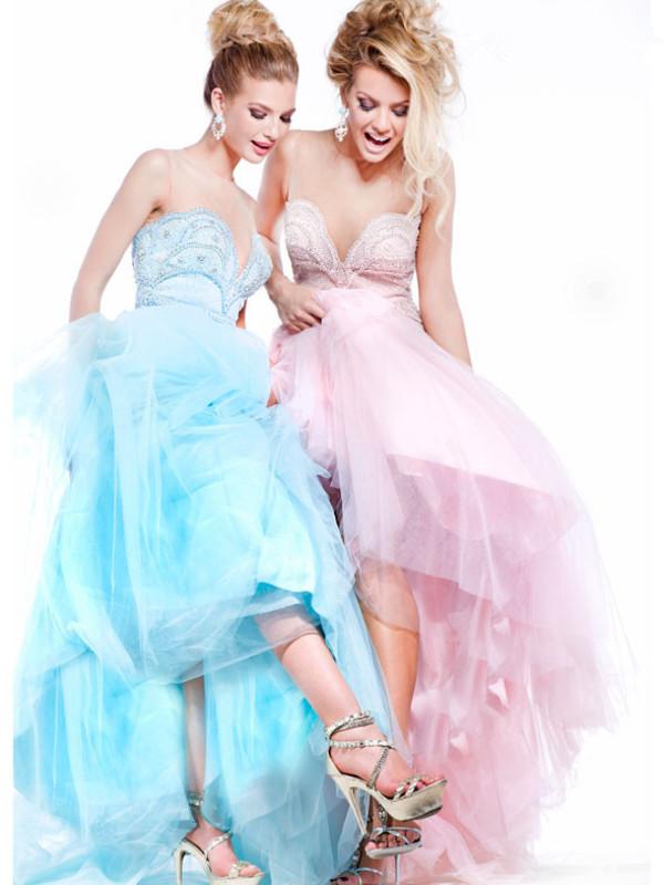 blue dress pink dress ball gown dress red carpet 2014 dress prom dress formal dress layer dress off the shoulder dress dress