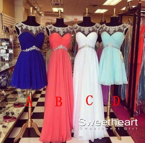Line chiffon prom dresses, evening dresses, formal dresses