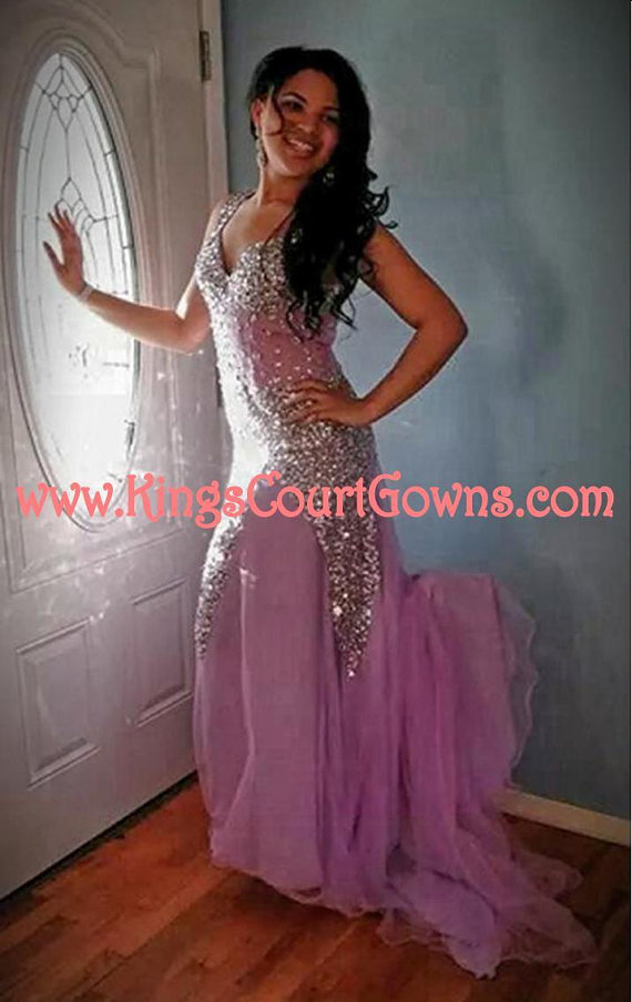 Replica beaded nude backless trumpet chiffon prom evening pageant dress gown