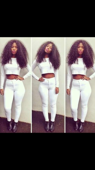 shirt white crop tops white pants curly hair black girls killin it
