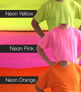 Plain Cotton Gildan Neon Bright Pink Yellow Orange Fluorescent T Shirts Safety | eBay