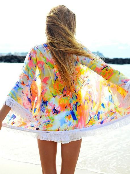 Sweater: colorful, kimono, cardigan, top, swimwear, bright, cover ...