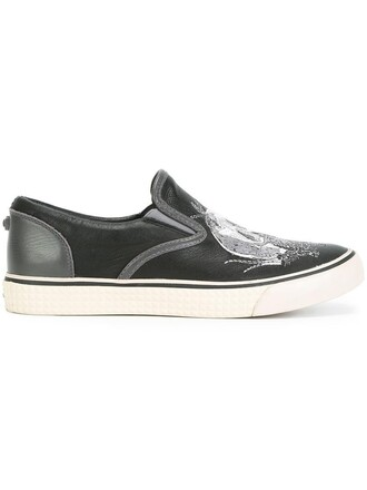 skull women sneakers leather black shoes